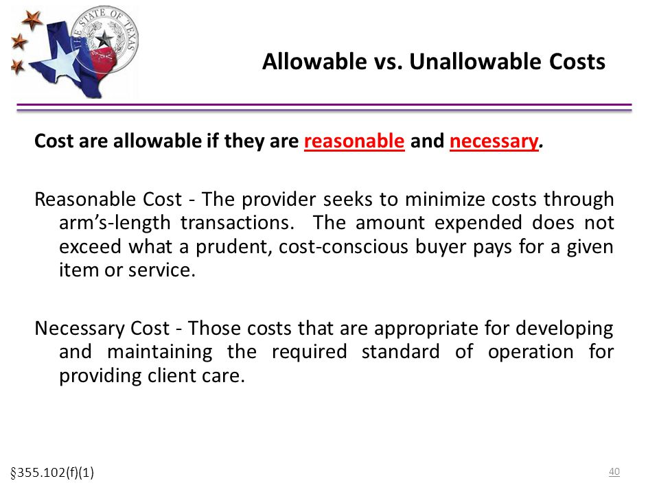 Allowable vs. Unallowable Costs