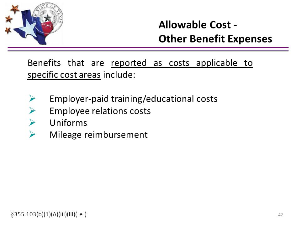 Allowable Cost - Other Benefit Expenses