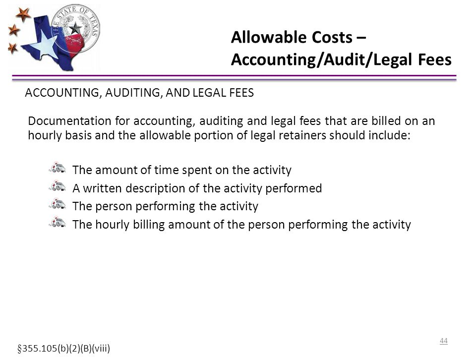 Allowable Costs – Accounting/Audit/Legal Fees