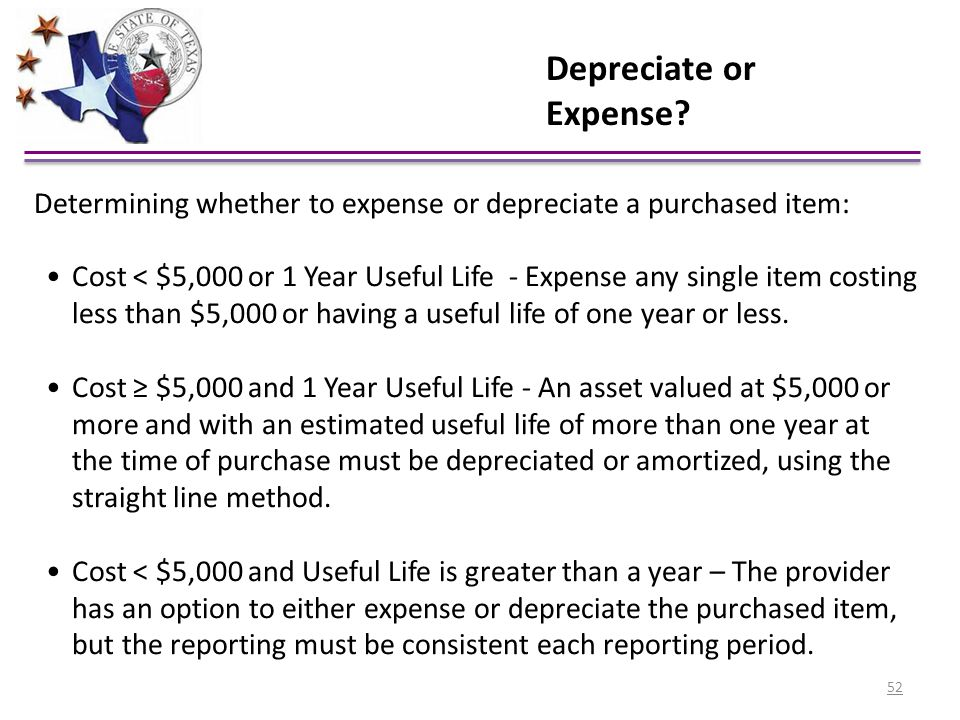 Depreciate or Expense Determining whether to expense or depreciate a purchased item: