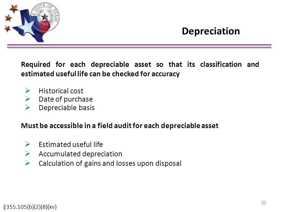 Depreciation Required for each depreciable asset so that its classification and estimated useful life can be checked for accuracy.