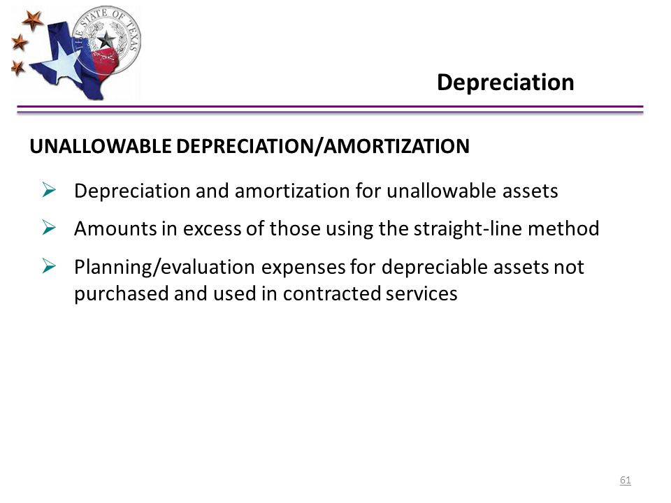 Depreciation UNALLOWABLE DEPRECIATION/AMORTIZATION