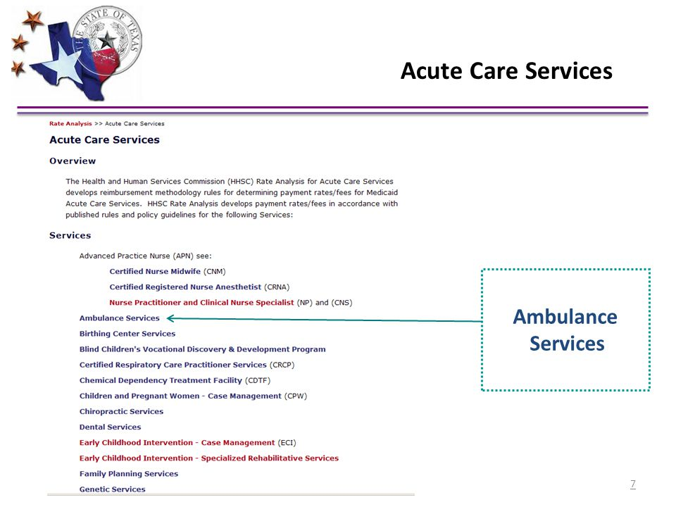 Acute Care Services Ambulance Services