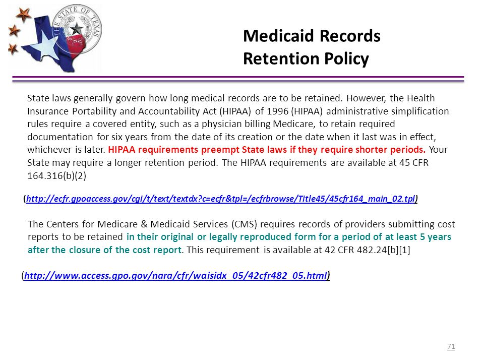 Medicaid Records Retention Policy