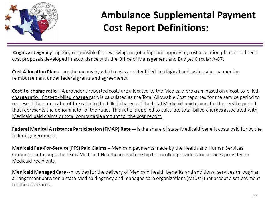 Ambulance Supplemental Payment Cost Report Definitions:
