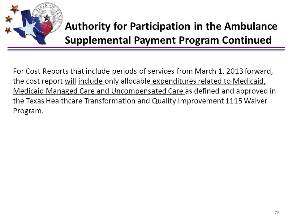 Authority for Participation in the Ambulance Supplemental Payment Program Continued