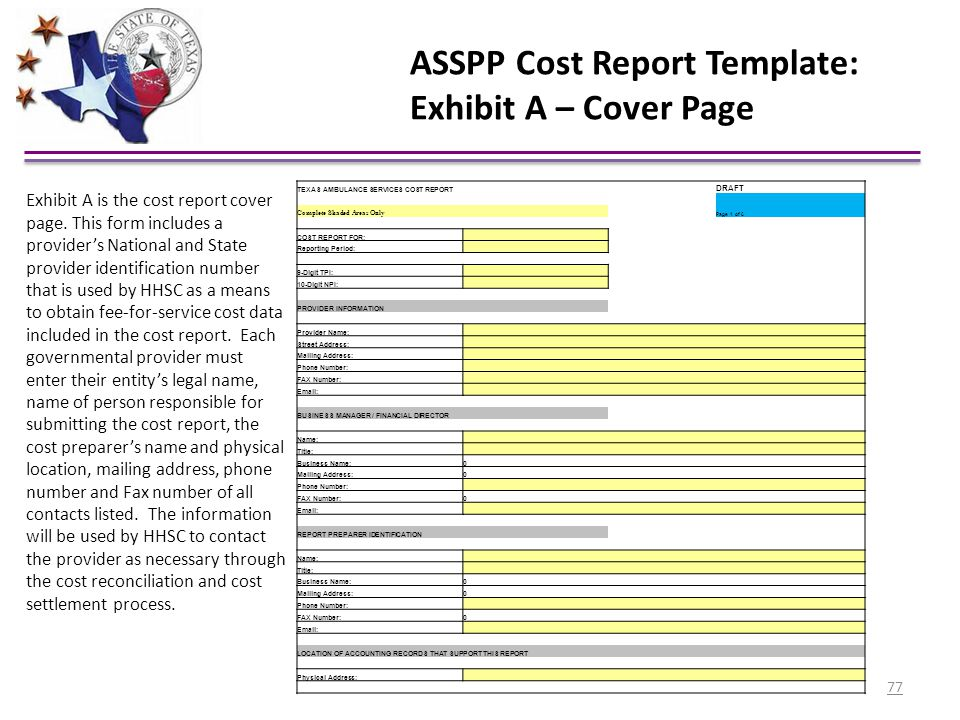 ASSPP Cost Report Template: Exhibit A – Cover Page