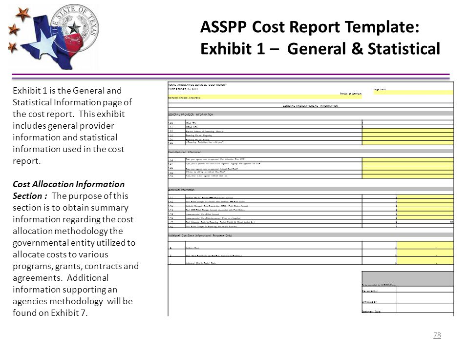 ASSPP Cost Report Template: Exhibit 1 – General & Statistical