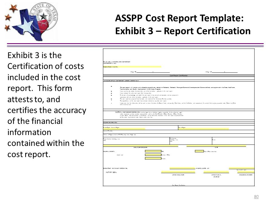 ASSPP Cost Report Template: Exhibit 3 – Report Certification