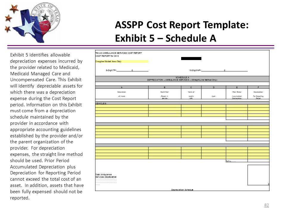 ASSPP Cost Report Template: Exhibit 5 – Schedule A