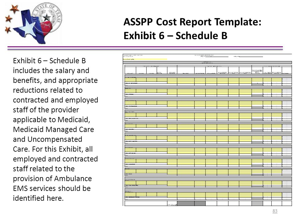 ASSPP Cost Report Template: Exhibit 6 – Schedule B