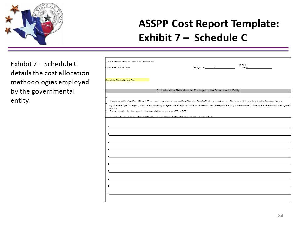 ASSPP Cost Report Template: Exhibit 7 – Schedule C