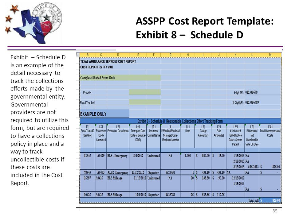 ASSPP Cost Report Template: Exhibit 8 – Schedule D