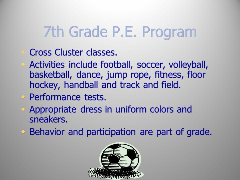 7th Grade P.E. Program Cross Cluster classes.