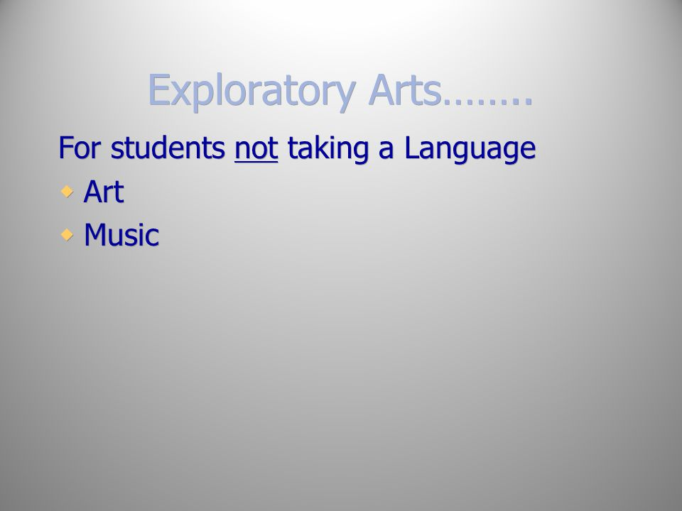 Exploratory Arts…….. For students not taking a Language Art Music