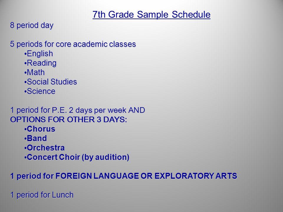 7th Grade Sample Schedule