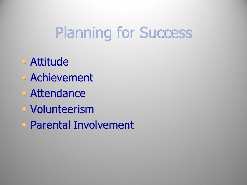 Planning for Success Attitude Achievement Attendance Volunteerism