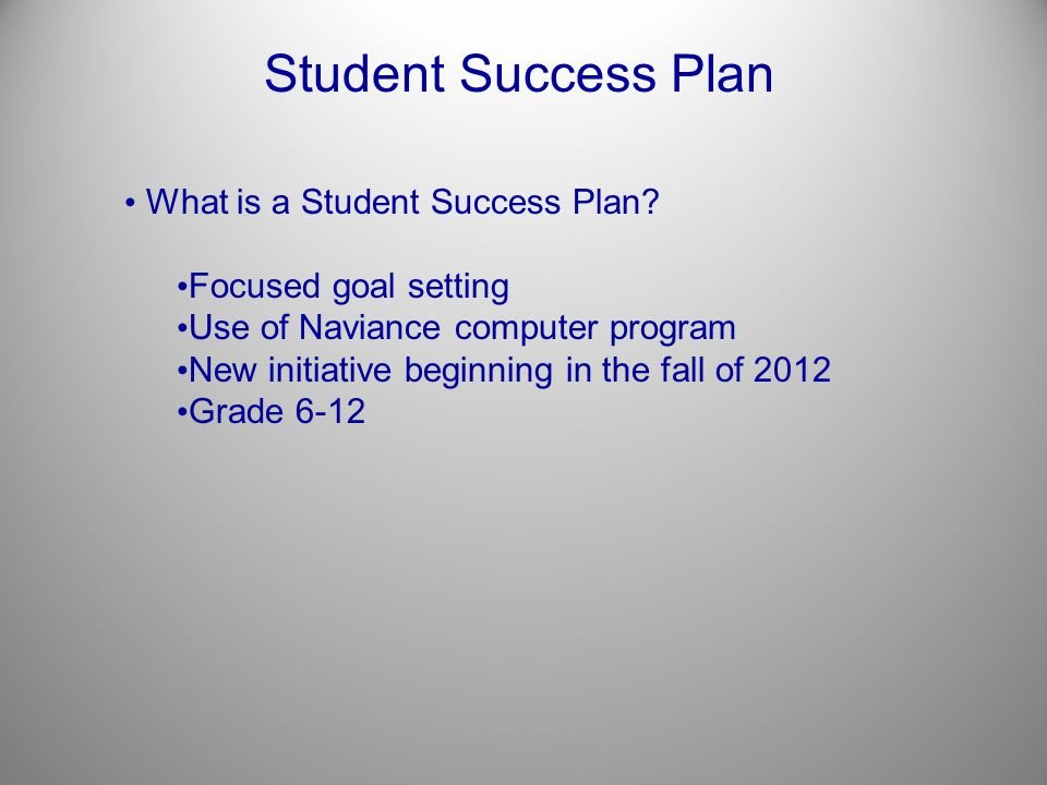 Student Success Plan What is a Student Success Plan