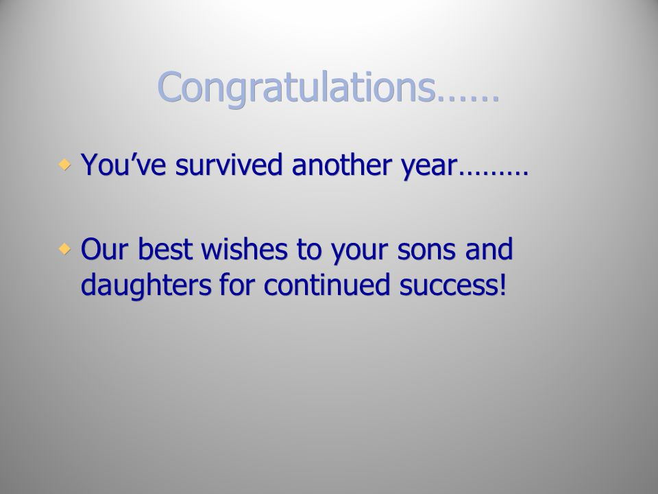 Congratulations…… You've survived another year………