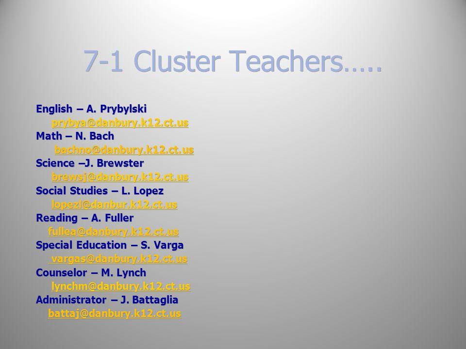 7-1 Cluster Teachers….. English – A. Prybylski