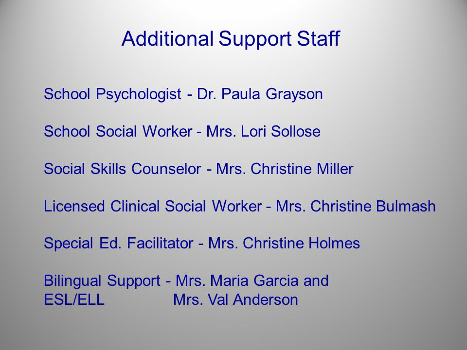 Additional Support Staff