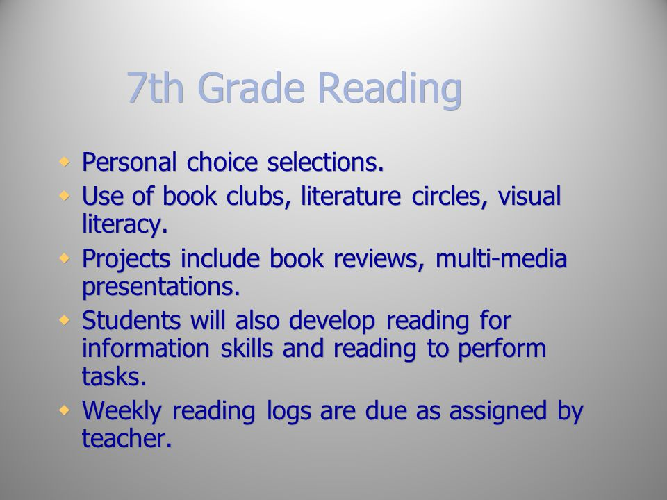 7th Grade Reading Personal choice selections.