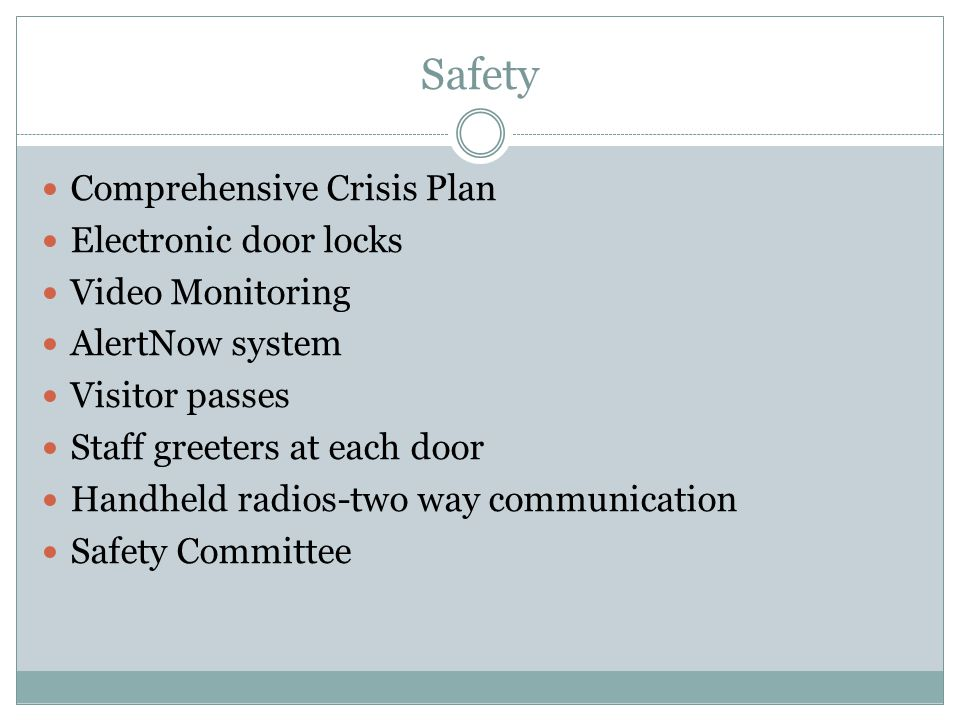 Safety Comprehensive Crisis Plan Electronic door locks