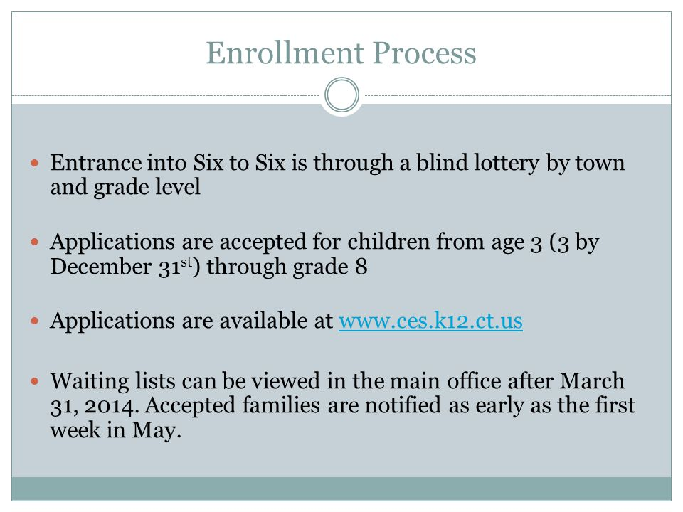 Enrollment Process Entrance into Six to Six is through a blind lottery by town and grade level