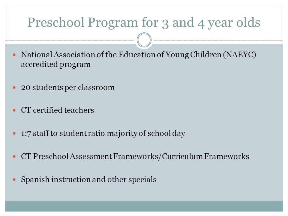 Preschool Program for 3 and 4 year olds