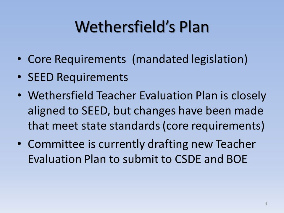 Wethersfield's Plan Core Requirements (mandated legislation)