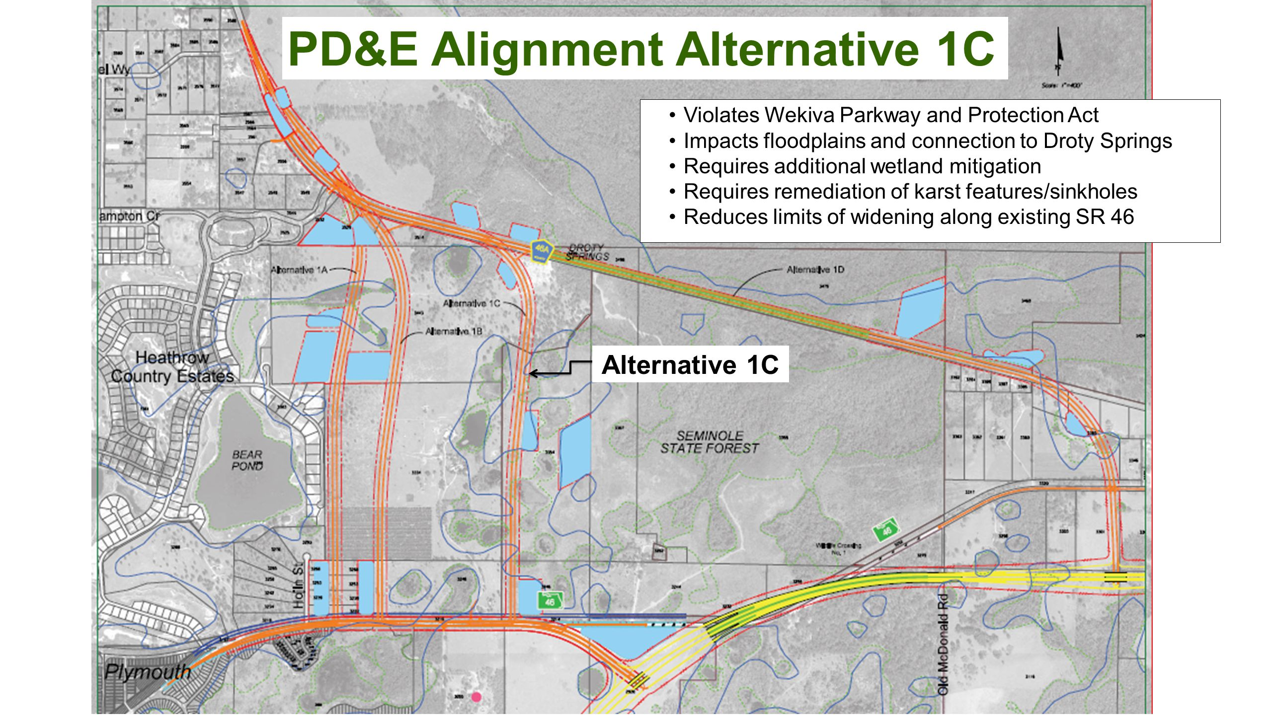 OOCEA SECTIONS PD&E Alignment Alternative 1C Alternative 1C