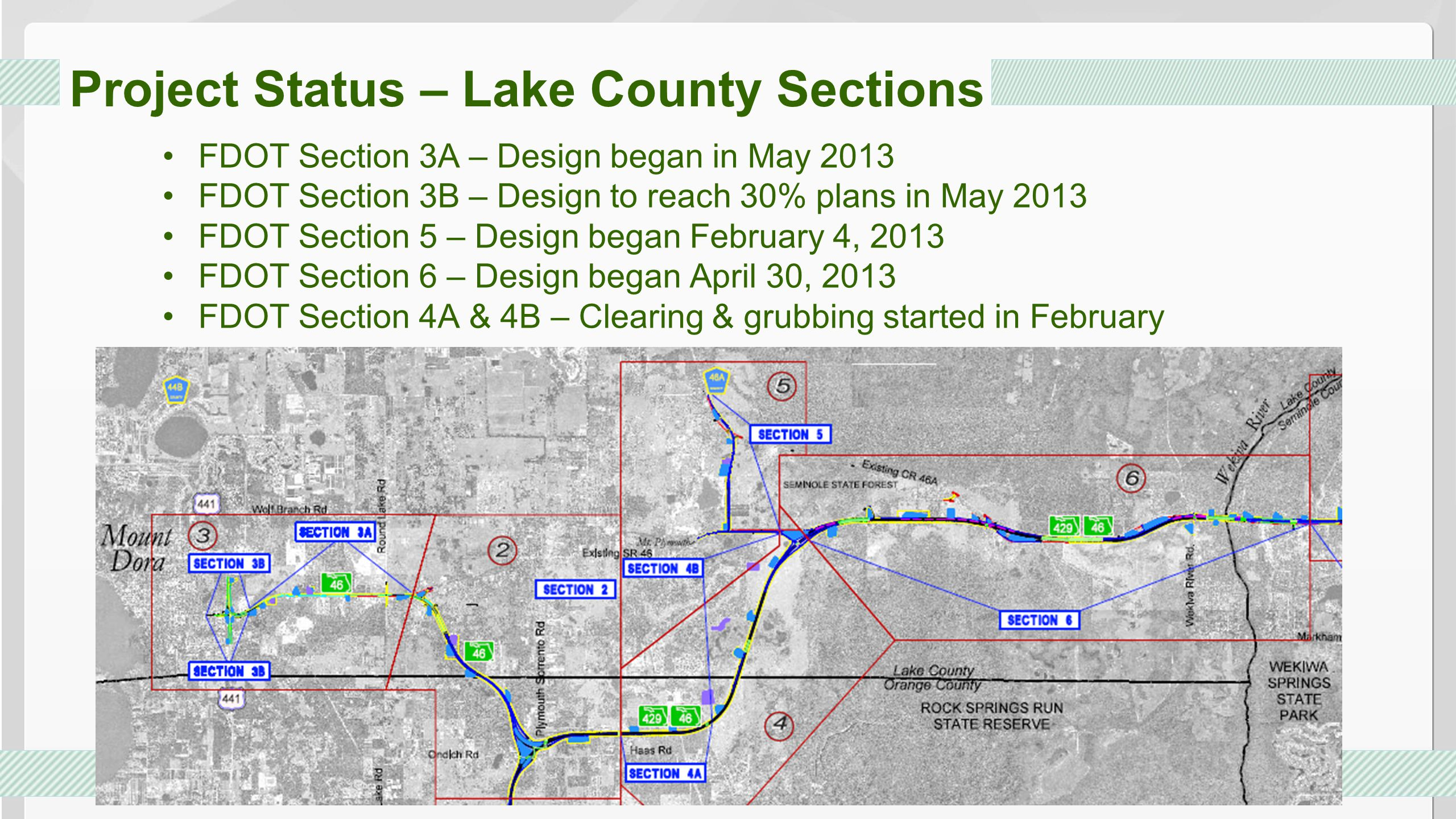 Project Status – Lake County Sections