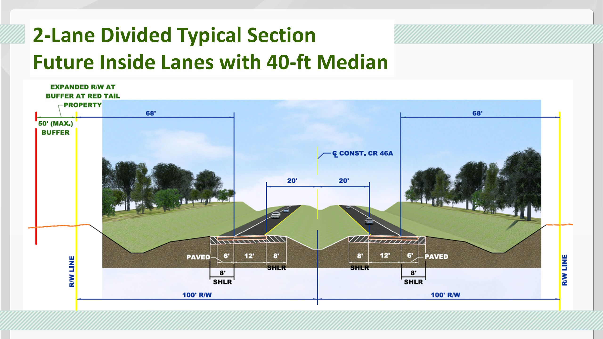 2-Lane Divided Typical Section