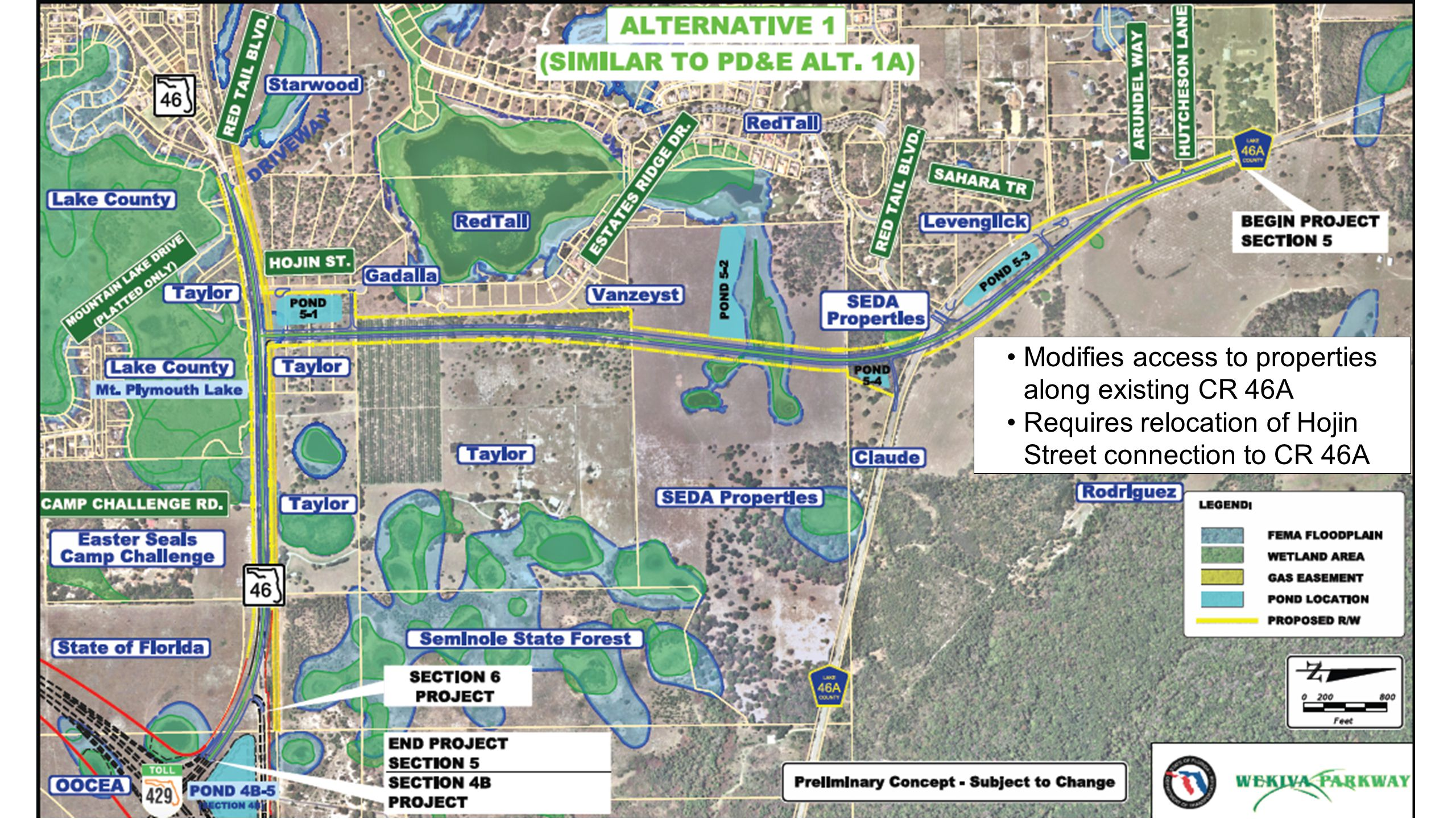 OOCEA SECTIONS Alignment Alternative 1