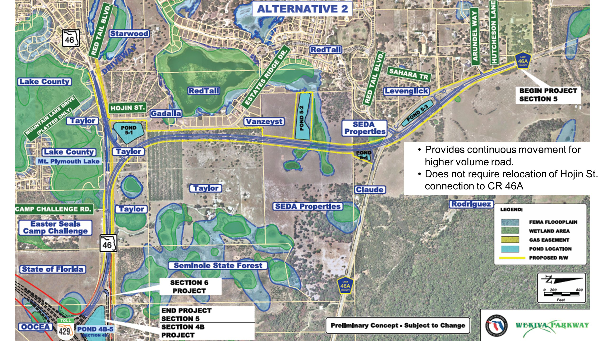 OOCEA SECTIONS Alignment Alternative 3