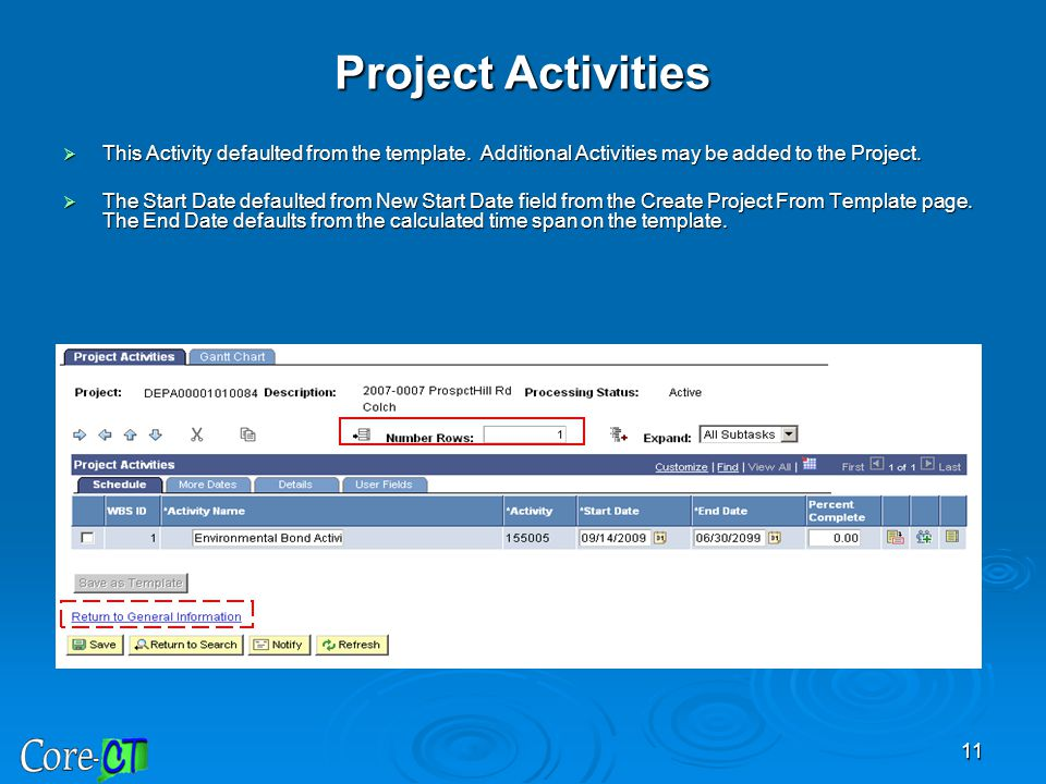Project Activities This Activity defaulted from the template. Additional Activities may be added to the Project.