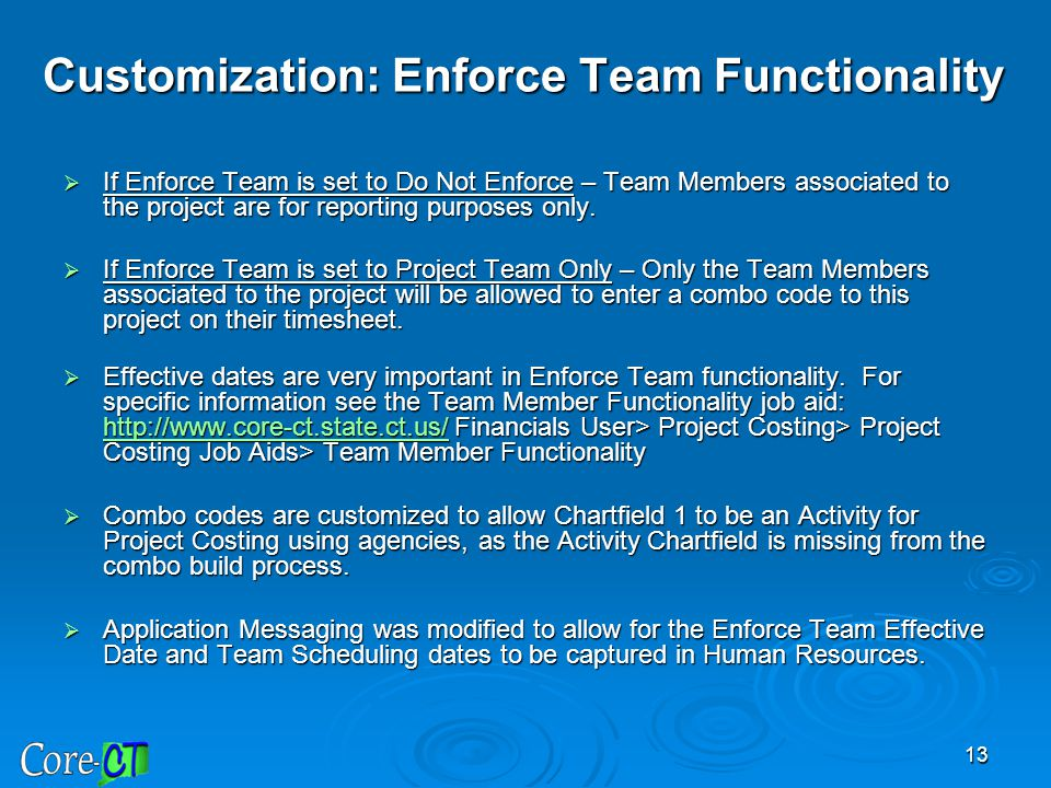 Customization: Enforce Team Functionality
