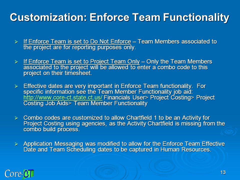 Customization: Enforce Team Functionality