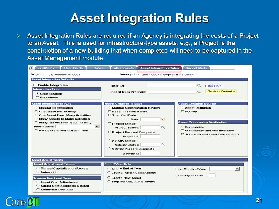 Asset Integration Rules
