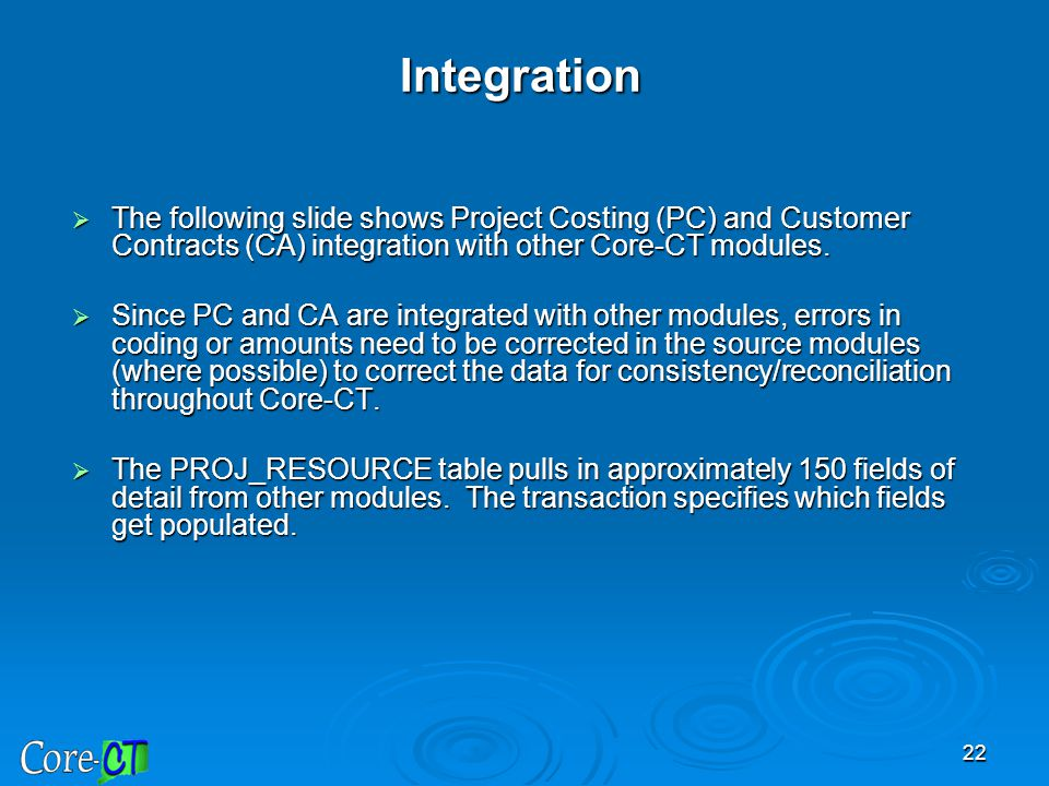 Integration The following slide shows Project Costing (PC) and Customer Contracts (CA) integration with other Core-CT modules.