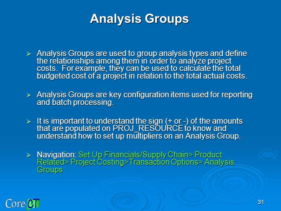 Analysis Groups