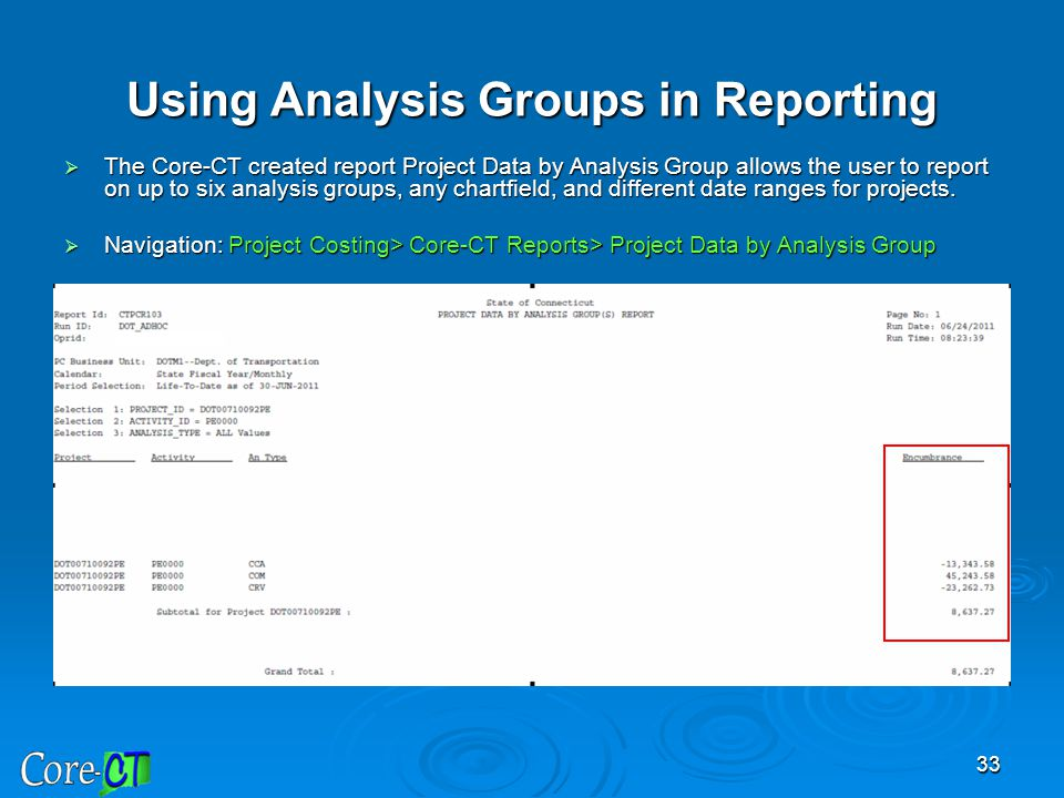 Using Analysis Groups in Reporting