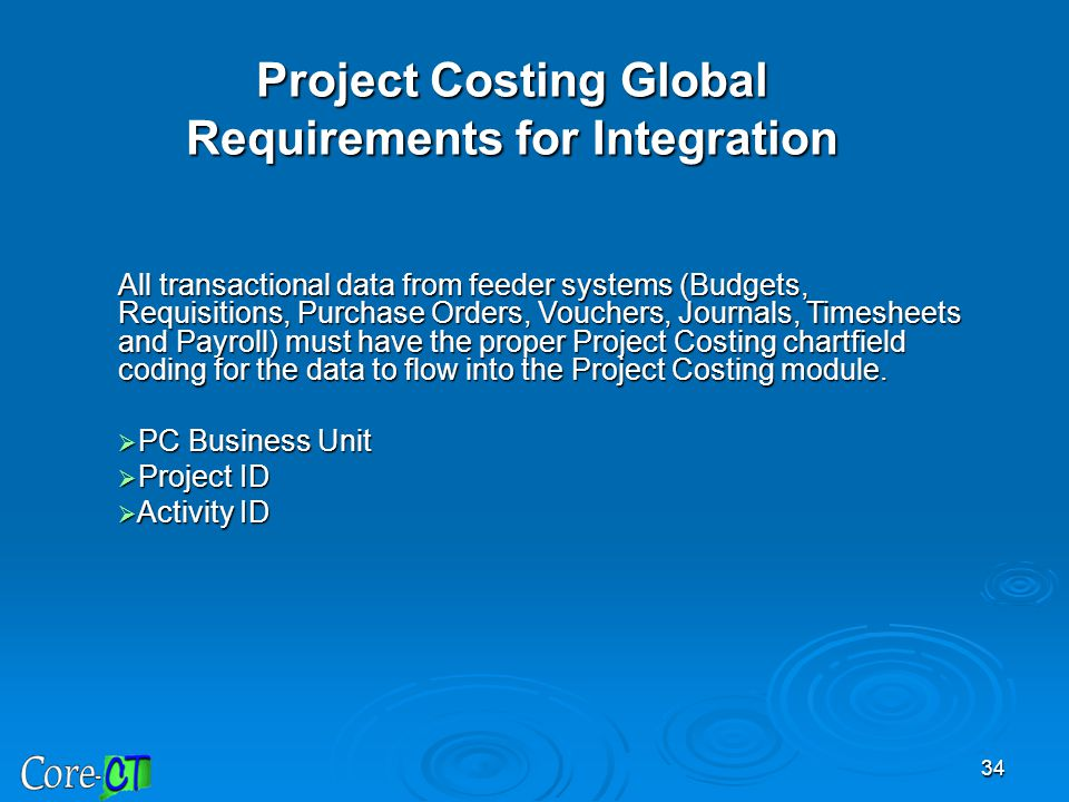 Project Costing Global Requirements for Integration
