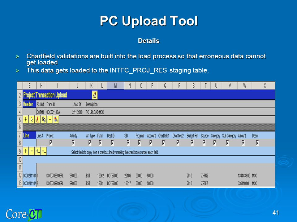 PC Upload Tool Details Chartfield validations are built into the load process so that erroneous data cannot get loaded.