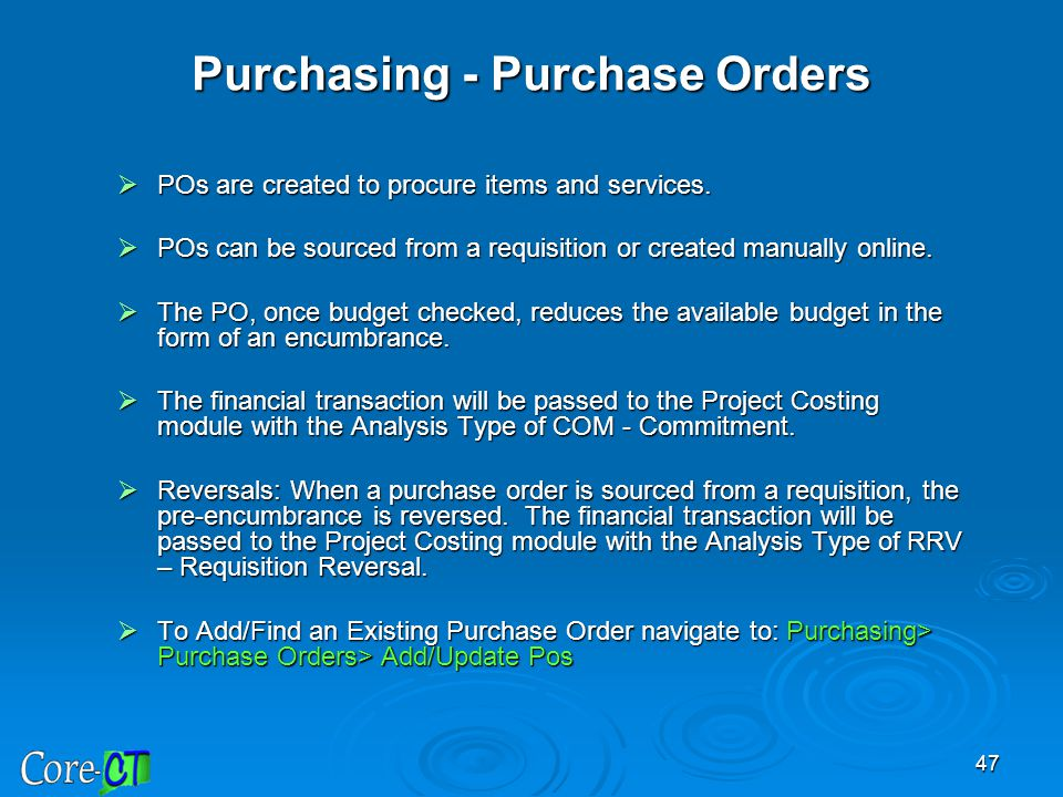 Purchasing - Purchase Orders