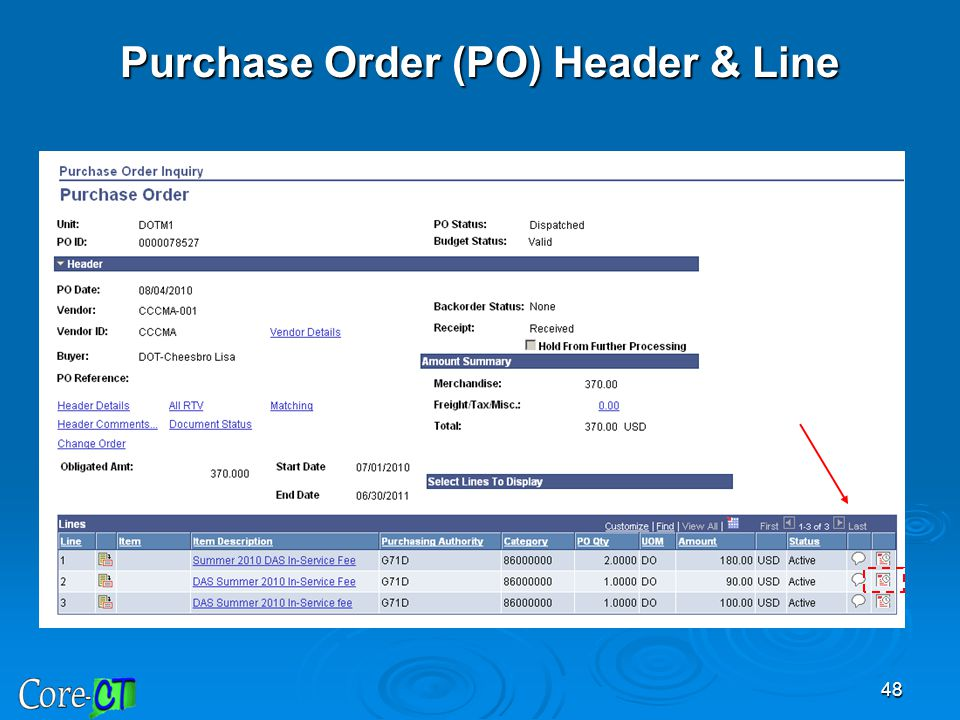 Purchase Order (PO) Header & Line