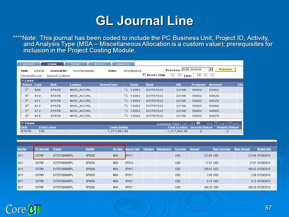 GL Journal Line
