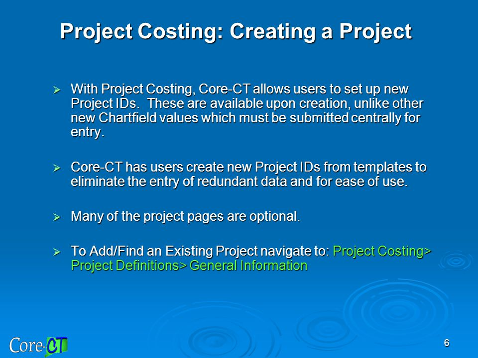 Project Costing: Creating a Project