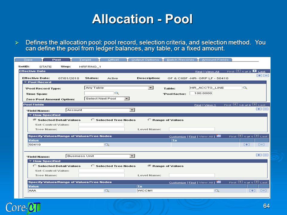 Allocation - Pool