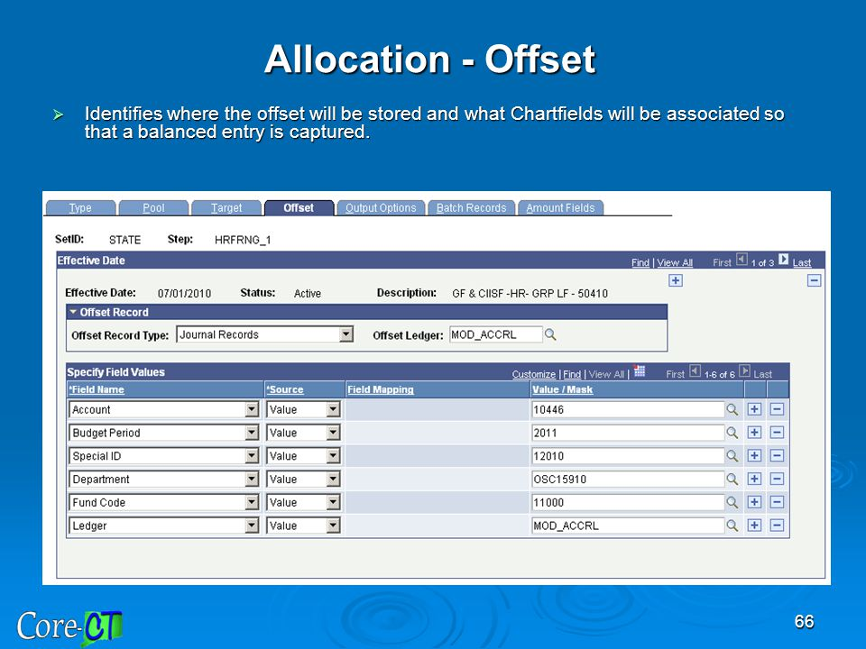 Allocation - Offset Identifies where the offset will be stored and what Chartfields will be associated so that a balanced entry is captured.